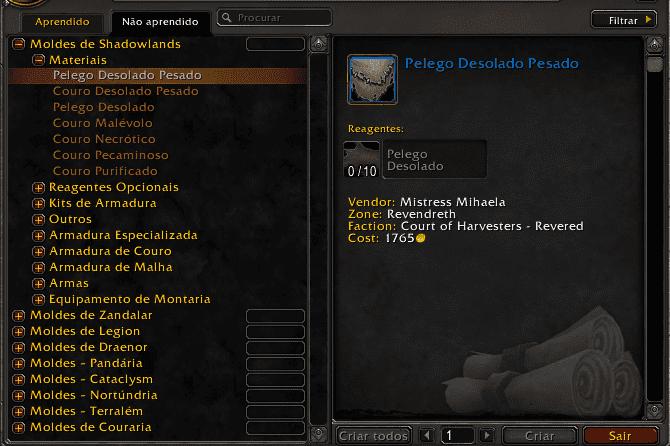 wow world of warcraft letherworking legendary lendário